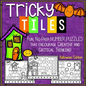 Halloween Math Problem Solving Activities - Tricky Tiles