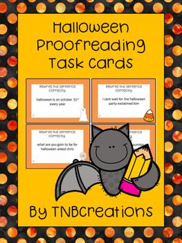 Halloween Language Arts Proofreading Task Cards