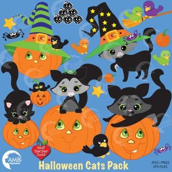 Halloween Pumpkin Cat Clipart AMB-298