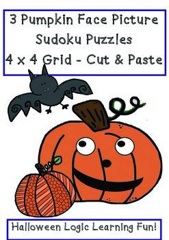 Halloween Pumpkin Face Sudoku 4 x 4 Puzzles Cut & Paste 3