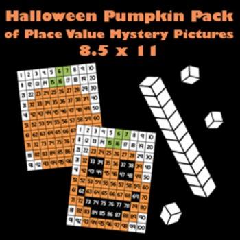 Halloween Pumpkin & Jack O'Lantern Place Value Math Myster