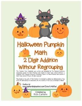 """Halloween Pumpkin Math"" 2 Digit Addition Without Regroupi"