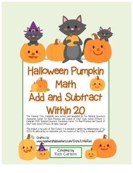 """Halloween Pumpkin Math"" Addition & Subtraction Within 20"