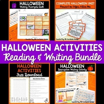 Halloween Reading & Writing Activities Bundle for Middle School
