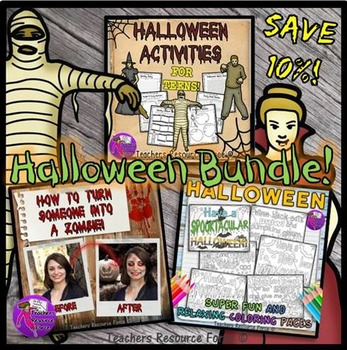 Halloween Activities, Zombie Tutorial and Coloring Pages f