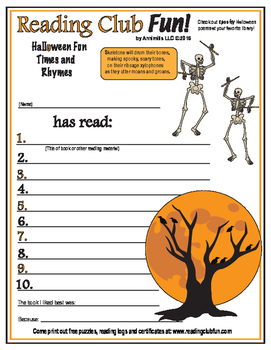 Halloween Rhymes Reading Log and Certificate Set
