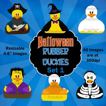 Halloween Rubber Duckies Clip Art Set 1