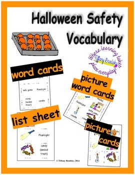 Halloween Safety Vocabulary Word & Flash Cards & More; Gre