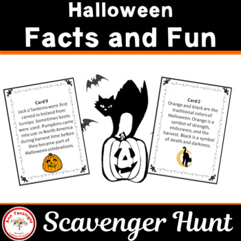 Halloween Scavenger Hunt with bonus riddles match-up activity