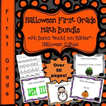 """Halloween Math First Grade Bundle - With """"Would You Rather"""