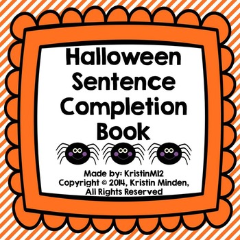 Halloween Sentence Completion Book
