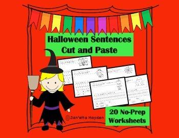 Halloween Sentences Cut and Paste