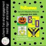 Halloween Set of 4 Mystery Pictures Language Arts Skills