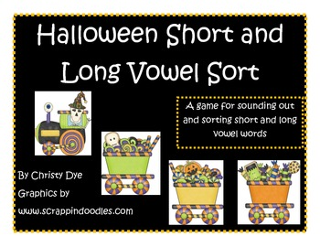 Halloween Short and Long Vowel Word Sort Center Freebie of