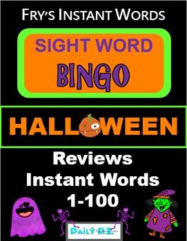 Halloween Sight Word Bingo - Fry's Instant Words 1-100