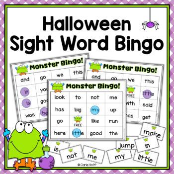 Halloween Sight Word Bingo - Monster Theme