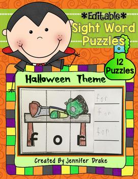 Halloween Sight Word Puzzles **EDITABLE**