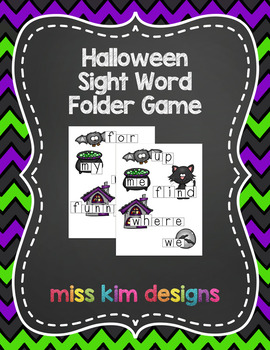 Halloween Sight Word Reading Folder Game for Early Childho