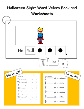 Halloween Sight Word Velcro Book (Adapted Book)
