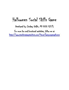 Halloween Social Skills Game