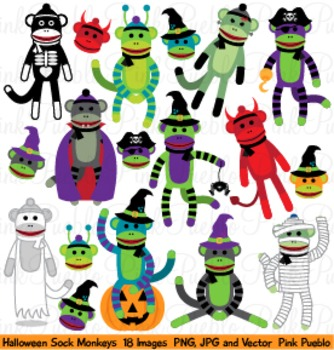 Halloween Sock Monkey Clipart Clip Art - Commercial and Pe