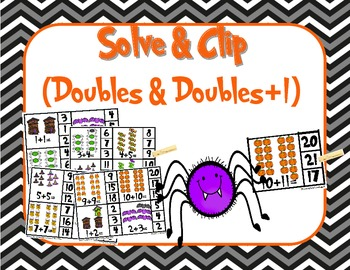 Halloween Solve and Clip: Doubles and Doubles Plus 1 Addition