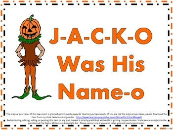 Halloween Song And Posters J-A-C-K-O Was His Name-o