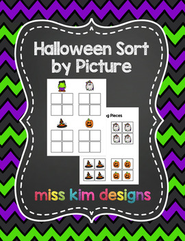 Halloween Sort by Picture File Folder Game for students wi