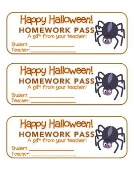 """Halloween"" Spider - Homework Pass –Holiday FUN! (color &"