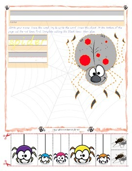 Halloween Spider Trace and Cut - Fine Motor Skills Practic