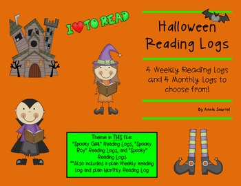 Halloween Spooky Kids Reading Logs: Daily and Monthly Reco