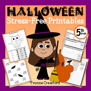 Halloween NO PREP Printables - Fifth Grade Common Core Mat