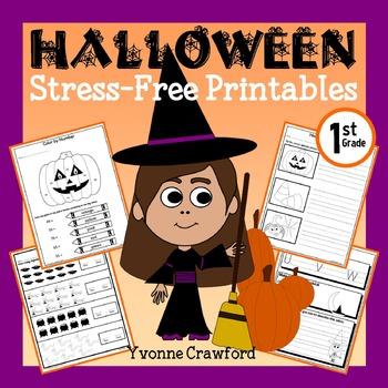 Halloween NO PREP Printables - First Grade Common Core Mat