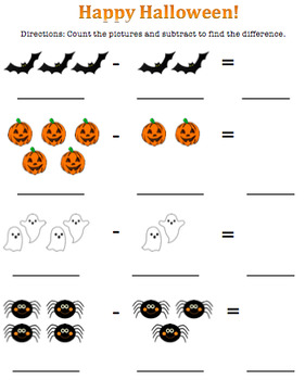 Halloween Subtraction Worksheet