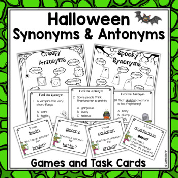 Halloween Synonyms & Antonyms - Print and Play Practice Games