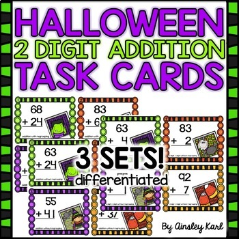 HALLOWEEN Task Cards : Addition with & without Regrouping