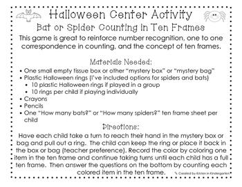 Halloween Ten Frame Game - Math Center Activity