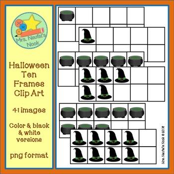 Halloween Ten Frames Clip Art
