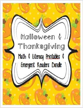 Halloween & Thanksgiving Math & Phonics Printables & Emerg
