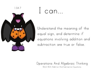 Halloween Theme 1st grade math Common Core Posters first G