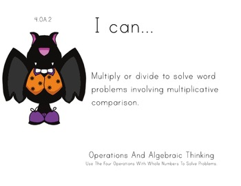Halloween Theme 4th grade math Common Core Posters fourth