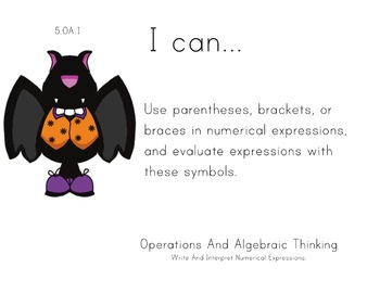 Halloween Theme 5th grade math Common Core Posters Fifth G