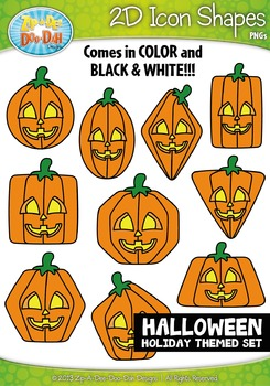 Halloween Themed 2D Icon Shapes Clipart Set — Includes 20