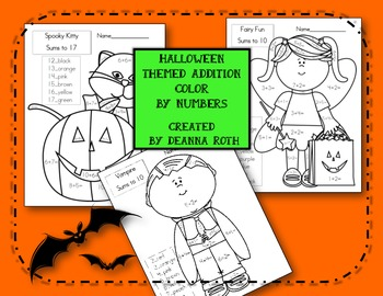 Halloween Themed Addition Color by Number Printables