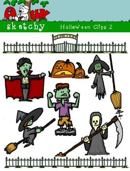 Halloween Themed Clipart / Graphics 2 - 300dpi Color, Gray
