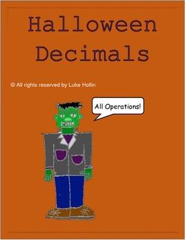 Halloween Themed Decimal Activities All Operations