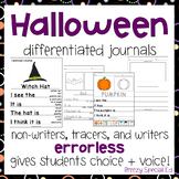 Halloween Themed Differentiated Journal Writing for Specia