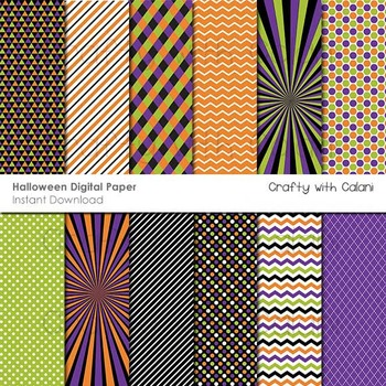 Halloween Themed Digital Paper and Background Set - 12 hig