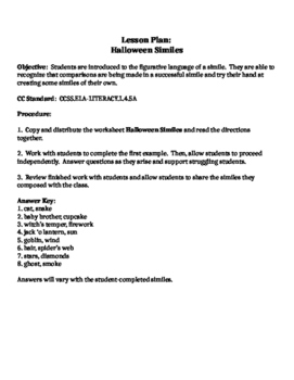 Halloween Themed Lesson on Similes