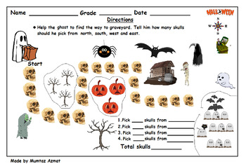 Halloween Themed Map Skill Directions: